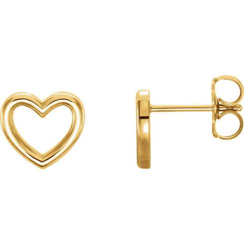 14kt Yellow Gold Open Heart Stud Earrings