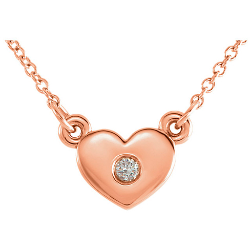 14kt Rose Gold .03 ct Diamond Heart on 16in Necklace