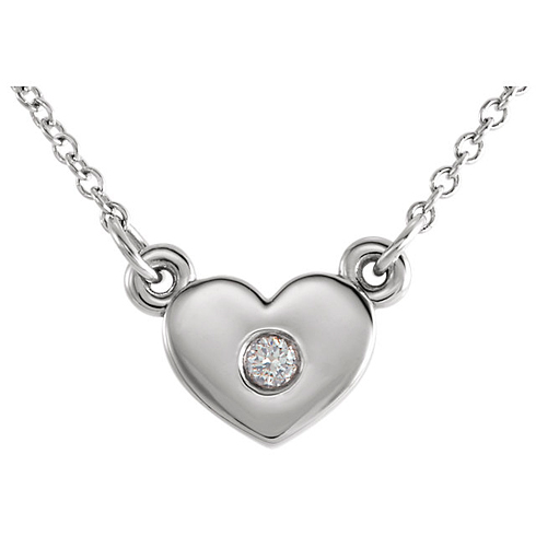 14kt White Gold .03 ct Diamond Heart on 16in Necklace