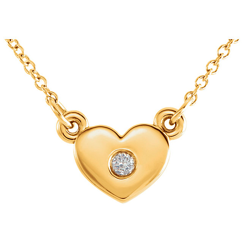 14kt Yellow Gold .03 ct Diamond Heart on 16in Necklace
