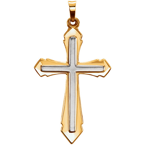 14kt Two-tone Gold 1 1/2in Hollow Pointed Cross Pendant