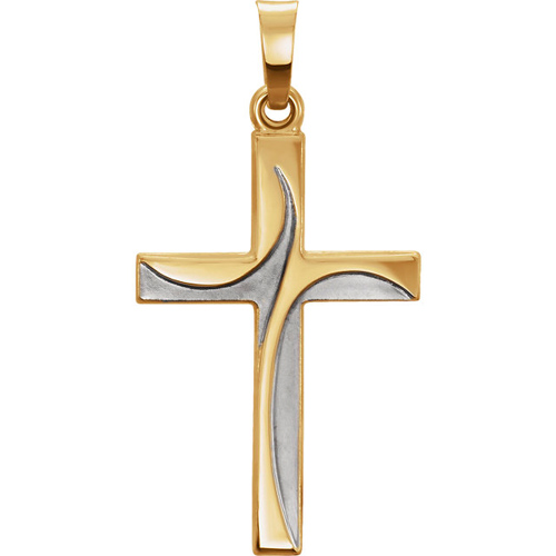 14kt Two-tone Gold 1 1/8in Swirled Cross Pendant