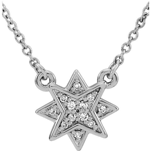 14kt White Gold .04 ct tw Diamond Starburst Necklace