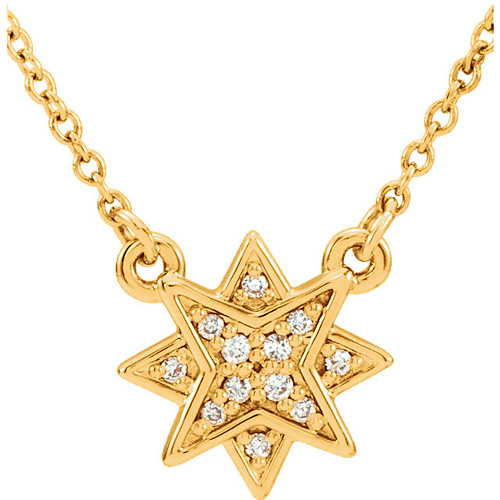 14kt Yellow Gold .04 ct tw Diamond Starburst Necklace