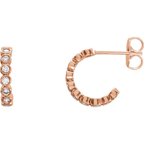 14kt Rose Gold 1/3 ct tw Diamond Bezel Small Hoop Earrings