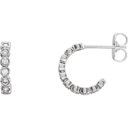 14kt White Gold 1/3 ct tw Diamond Bezel Small Hoop Earrings