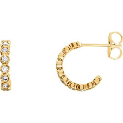 14kt Yellow Gold 1/3 ct tw Diamond Bezel Small Hoop Earrings