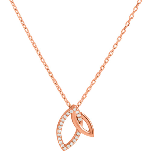 14kt Rose Gold .05 ct Diamond Marquise Duo Necklace
