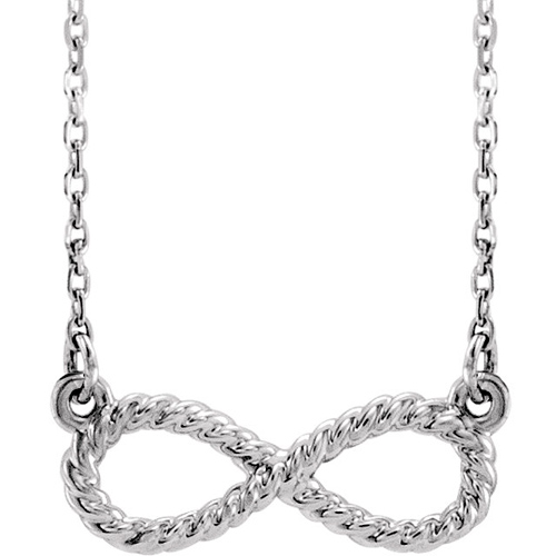 Sterling Silver Rope Infinity Symbol Necklace