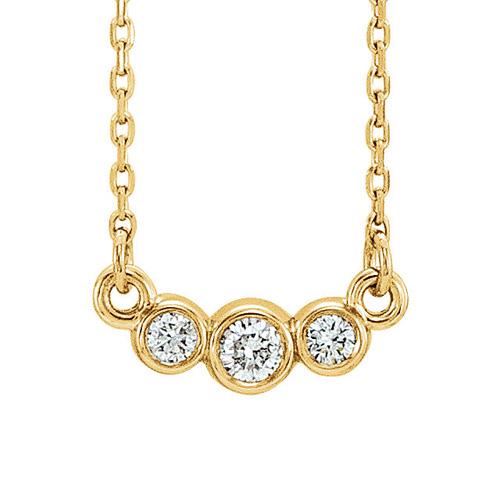 14kt Yellow Gold 1/8 ct Diamond 3-stone Bezel Necklace