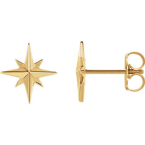14k Yellow Gold North Star Earrings