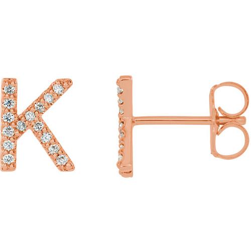 14k Rose Gold Diamond Initial K Earring