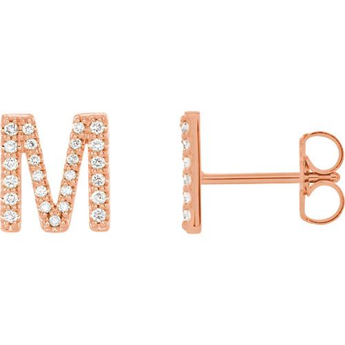 14k Rose Gold Diamond Initial M Earring
