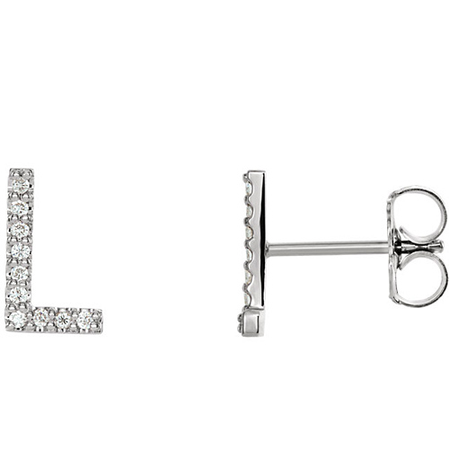 14k White Gold Diamond Initial L Earring