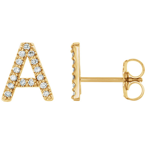14k Yellow Gold Diamond Initial A Earring
