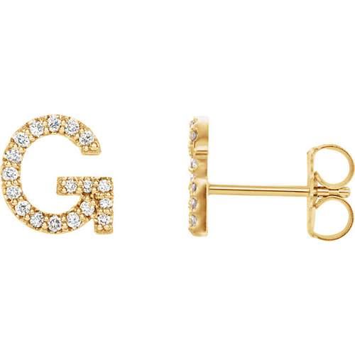 14k Yellow Gold Diamond Initial G Earring