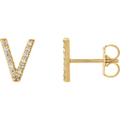 14k Yellow Gold Diamond Initial V Earring