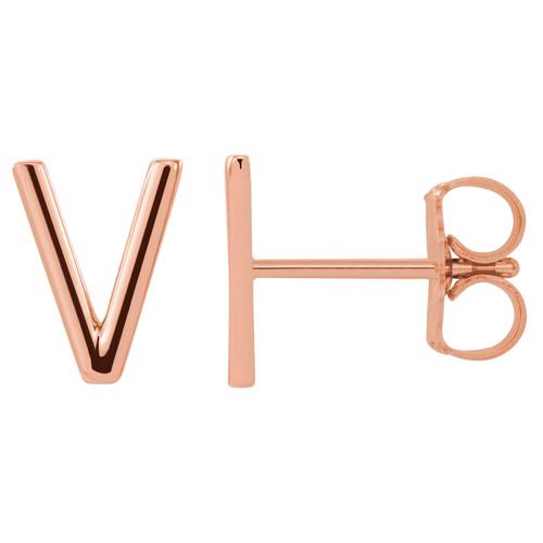 14k Rose Gold Mini Initial V Single Earring