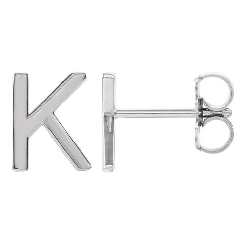 14k White Gold Mini Initial K Single Earring