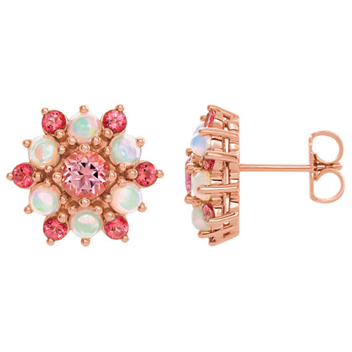 14k Rose Gold Pink Topaz Ethiopian Opal Cabochon Earrings