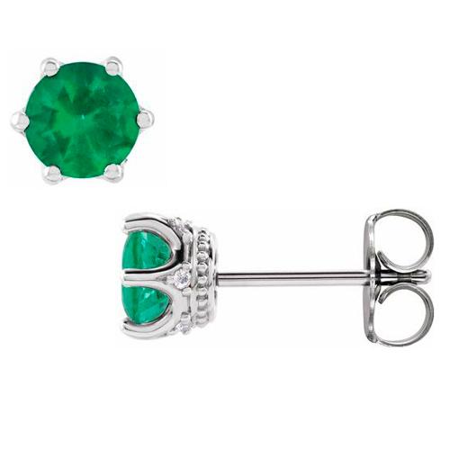 14k White Gold 5mm Lab-Created Emerald & Diamond Crown Earrings