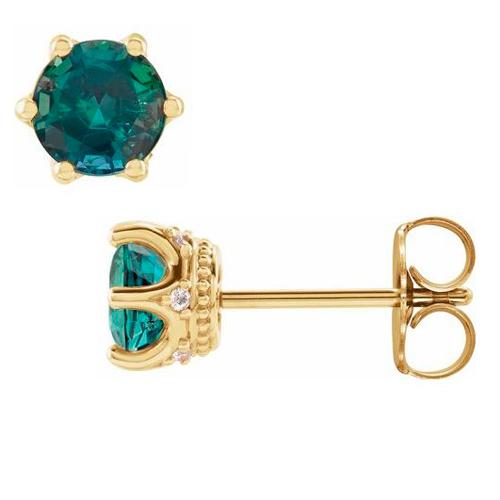 14k Yellow Gold 5mm Lab-Created Emerald & Diamond Crown Earrings