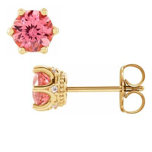14k Yellow Gold 5mm Pink Tourmaline & Diamond Crown Earrings