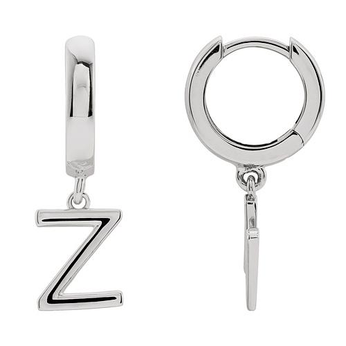 14k White Gold Mini Initial Z Single Hoop Earring