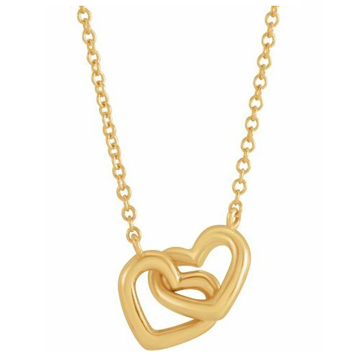 14k Yellow Gold Interlocking Hearts Necklace