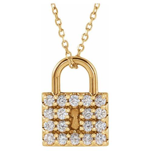 14k Yellow Gold 1/2 ct tw Diamond Lock Necklace