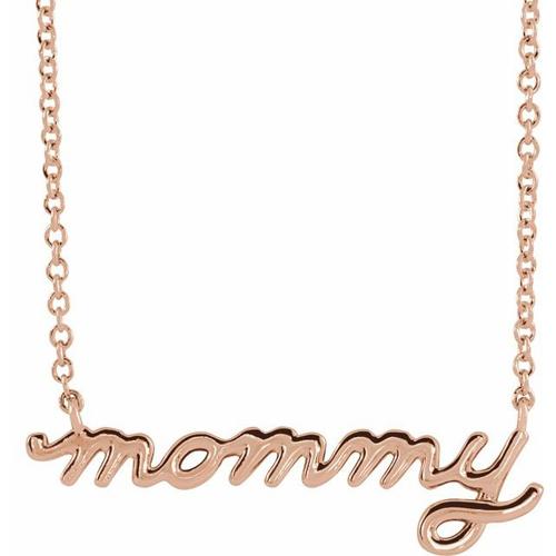 14k Rose Gold Mommy Script Necklace
