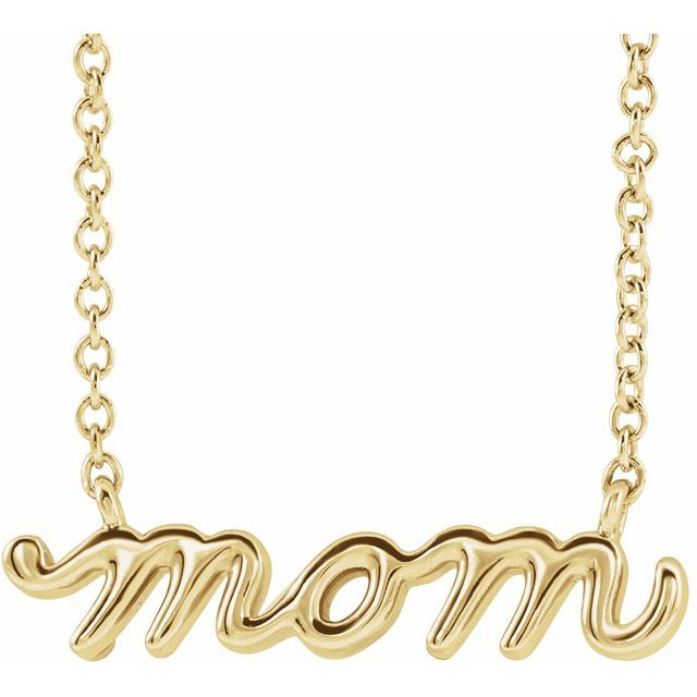 14k Yellow Gold Petite Mom Necklace
