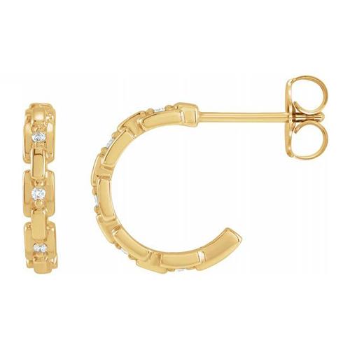 14k Yellow Gold .04 CTW Diamond Chain Link Hoop Earrings