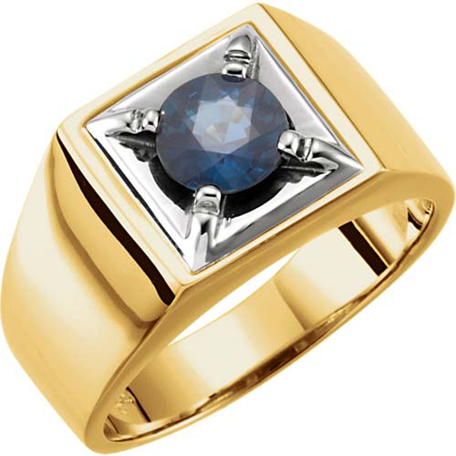 14k Two-tone Gold Men's 1.5 ct Blue Sapphire Ring