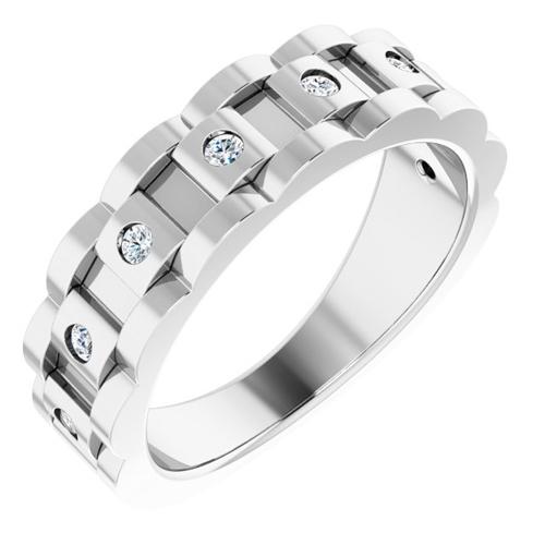 14k White Gold Men's 1/4 ct tw Diamond Chain Link Ring