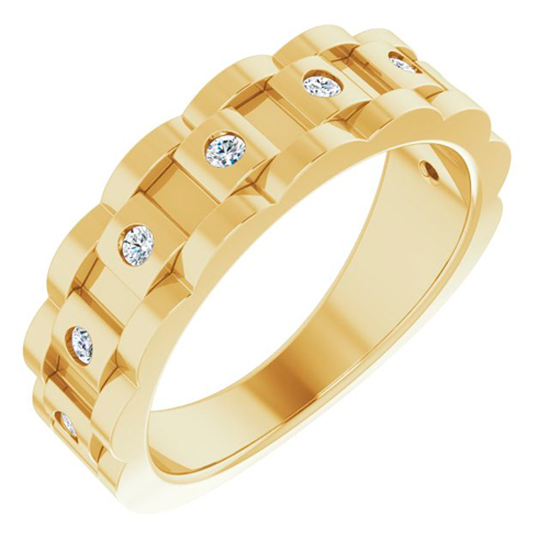 14k Yellow Gold Men's 1/4 ct tw Diamond Chain Link Ring