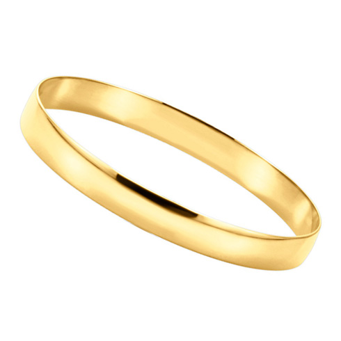 14kt Yellow Gold 8mm Half Round Bangle Bracelet
