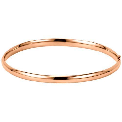 14kt Rose Gold 4mm Hinged Bangle Bracelet 7in