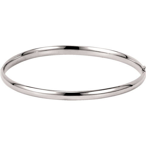 14kt White Gold 4mm Hinged Bangle Bracelet
