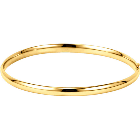 14kt Yellow Gold 4mm Hinged Bangle Bracelet