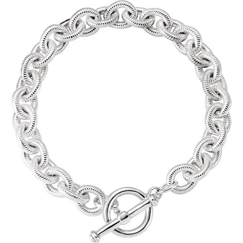 Sterling Silver Curb Link Toggle Bracelet with Textured Finish 8in