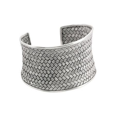Sterling Silver Fine Woven Cuff Bracelet