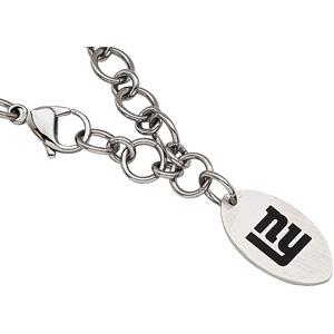 Stainless Steel 8in New York Giants Logo Dangle Bracelet