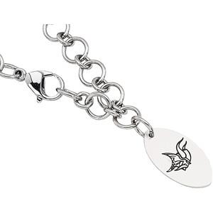 Stainless Steel 8in Minnesota Vikings Logo Dangle Bracelet