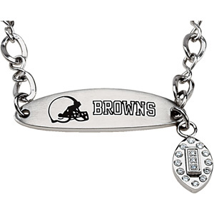 Stainless Steel 7 1/2in Cleveland Browns Oval ID Bracelet
