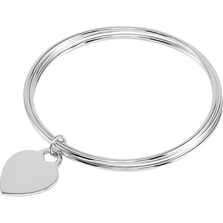 8in Sterling Silver Triple Bangle Bracelet with Heart Charm