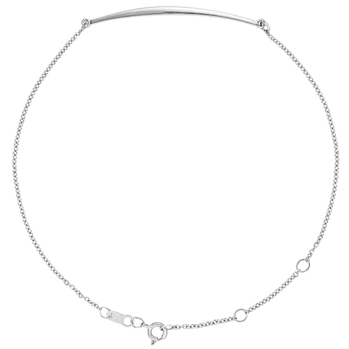 14k White Gold Curved Bar Cable Link Bracelet