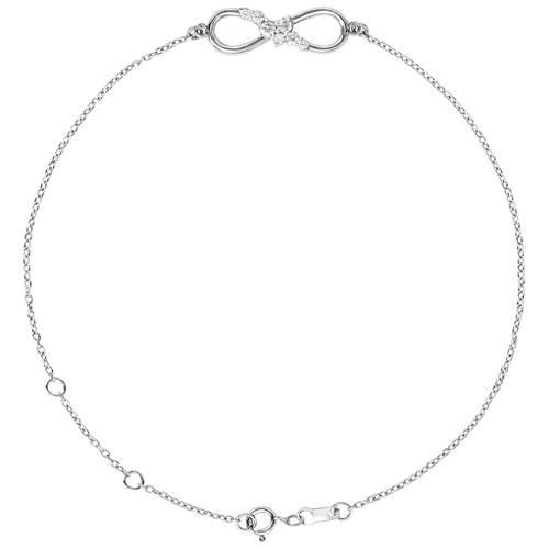 14k White Gold 1/8 ct tw Diamond Infinity Symbol Charm Bracelet