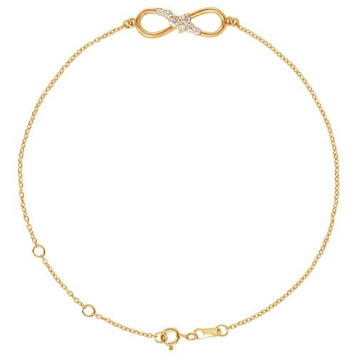 14k Yellow Gold 1/8 ct tw Diamond Infinity Symbol Charm Bracelet