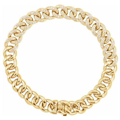 14k Yellow Gold 3/4 ct tw Diamond Curb Bracelet 7in